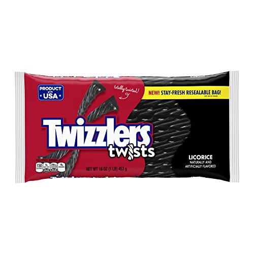 TWIZZLERS Twists (Black Licorice, 1-Pound Bags, Pack of 6) -