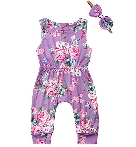 Newborn Infant Baby Girl Sleeveless Floral Jumpsuit Romper with Headband 2pcs Summer Clothes Set Outfit Purple (Purple, 0-6M)