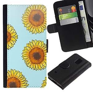All Phone Most Case / Oferta Especial Cáscara Funda de cuero Monedero Cubierta de proteccion Caso / Wallet Case for Samsung Galaxy S5 V SM-G900 // girasol amarillo azul estampado de flores