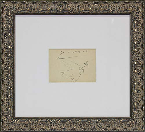 Pablo Picasso Authentic Autographed Signed Framed 5X6.5 Original Dove Of Peace Artwork Bas