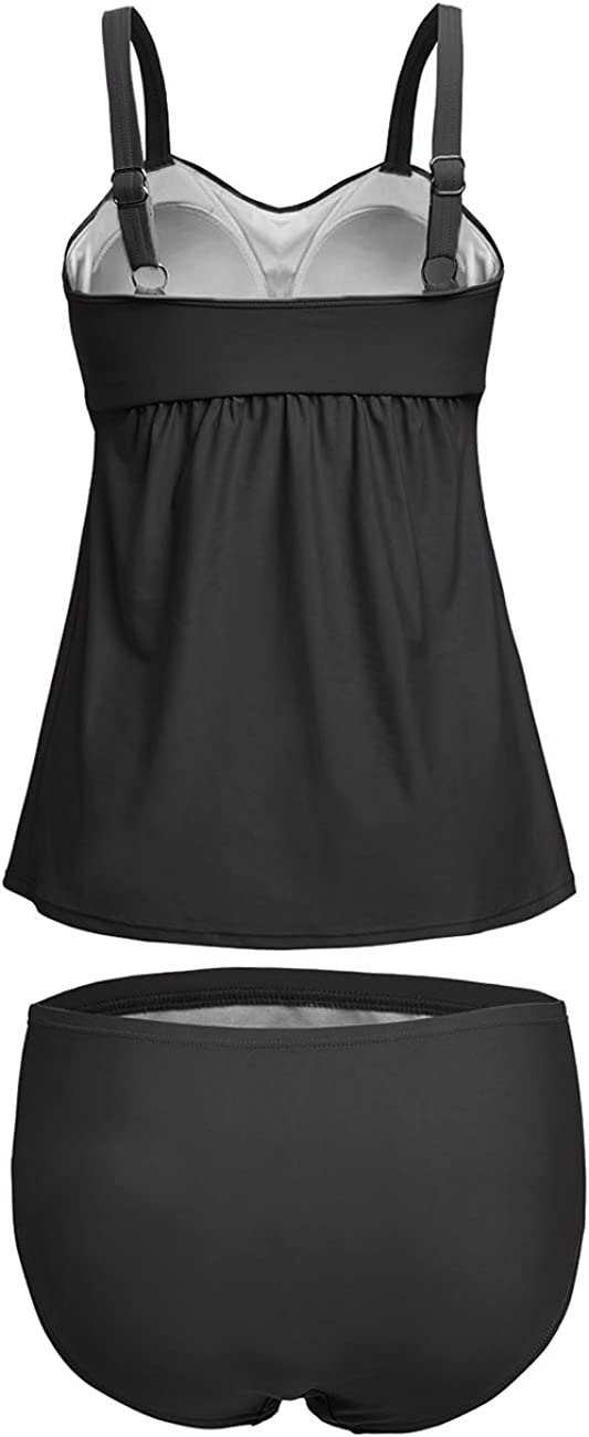 LAZOSAL Womens Solid Ruched Tankini Top Swimsuit with Triangle Briefs