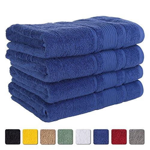 (4-Piece Bath Towels SET Affordable Premium Quality 100% Turkish Cotton   Royal Blue)
