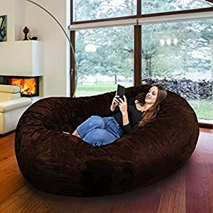 Gigantic Bean Bag Chair in Espresso with Memory Foam Filling and Machine Washable Velour Cover- Comfortable Cozy Lounge Sack to Chill - Huge Bed, Large Sofa, Cozy Lounger - Kids, Adults & Teens