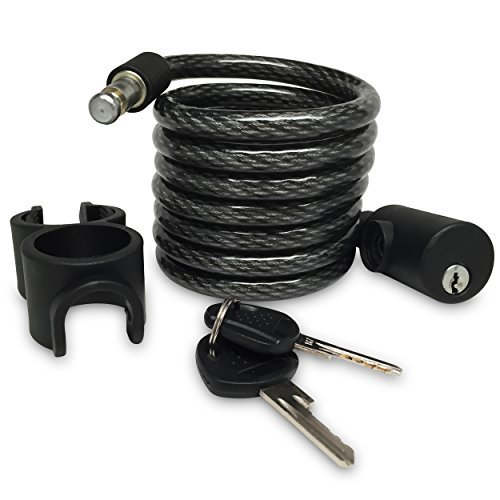 Bike Lock from Lock Advantage, Best Steel Cable for Protection & Security, 6-foot Heavy Duty Self Coiling Cable, Drill Resistant, Easy to Use with Key, Includes Holder, Secure your Bike Now!
