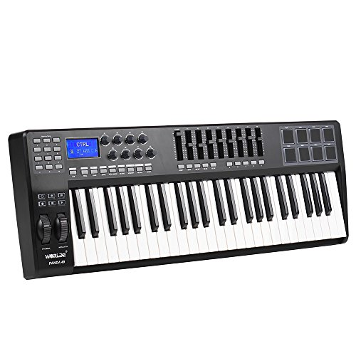ammoon PANDA49 49-Key USB MIDI Keyboard Controller 8 Drum Pads with USB Cable