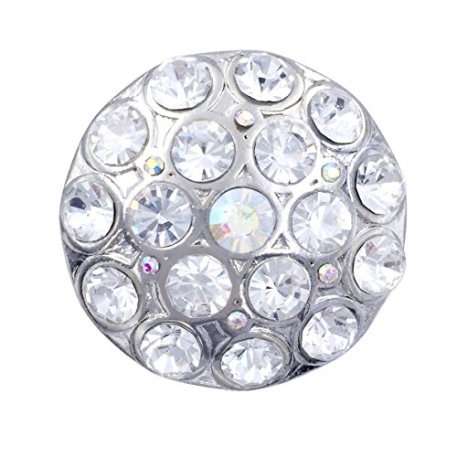 Gypsy Jewels Large Round Rhinestone Statement Big Stretch Cocktail Ring (Clear AB Silver Tone)