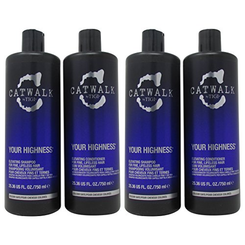 TIGI Catwalk Your Highness Volume Tween, 25.36 Oz Volumizing Shampoo and Conditioner Duo (25.36 Oz Double Duo) Decadent Duo