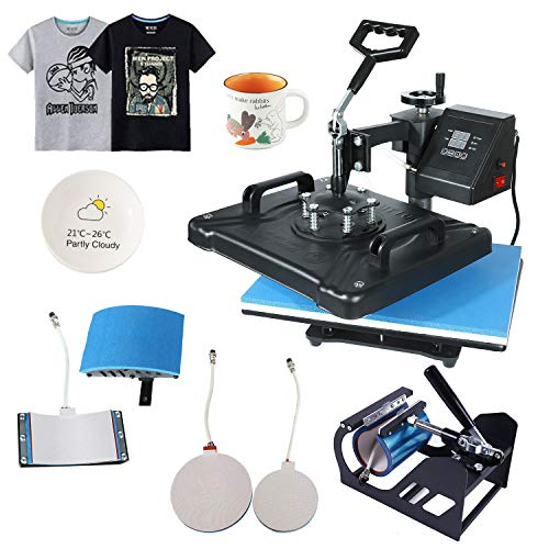 "Weanas Pro 5 in 1 Combo Heat Press Machine 12"" x 15"" Digital Transfer Sublimation Swing-Away Machine for Hat/Mug/Hat Plate/Cap/T-Shirts"
