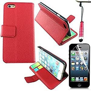 QHY Litchi PU Leather Cover with Card Slot with Touch Pen and Protective Film for iPhone 6 Plus(Assorted Colors) , White