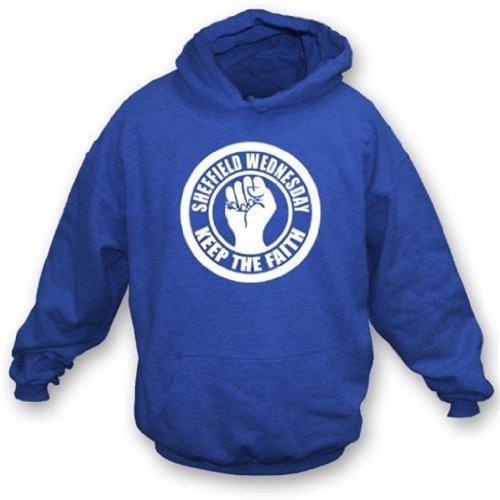 Punk Football Sheffield Wednesday Keep the Faith Hooded Sweatshirt Large Royal Blue