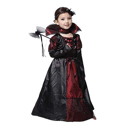 Wildlead Vestido De Halloween Para Niñas Disfraz De Reina De Vampiro Para Niños Carnaval Fiesta Disfraces Ropa De Cosplay Para Niños Large