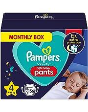 Pampers Baby-Dry Night Luierbroek Maat 4, 156 Luiers, 9kg-15kg, Pampers Night Pants Bieden Extra Bescherming De Hele Nacht Lang