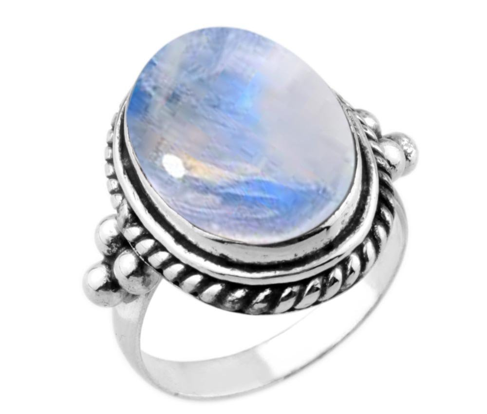 8.90ctw,Genuine Rainbow Moonstone 12x16mm Oval & .925 Silver Plated Handmade Ring (Size-8)