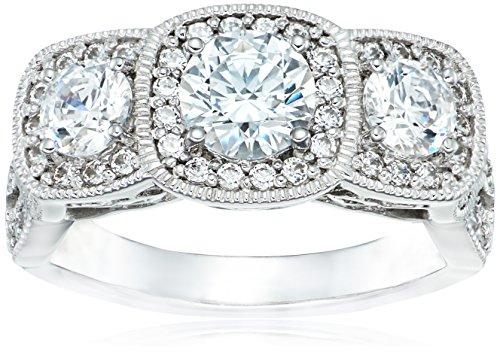 Platinum Plated Sterling Silver Swarovski Zirconia Round 3-Stone Vintage Style Ring, Size 6