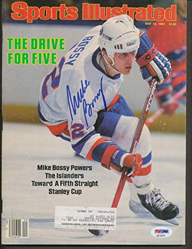 (Mike Bossy Islanders Signed 5/14/84 Sports Illustrated Auto AE12270 - PSA/DNA Certified - Autographed NHL Magazines)