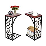 Wooden Table Design for Living Room Yaheetech Sofa Side and End Table Bronze Metal Frame Wooden Top With Elegant Leaf Design - Necessity in Your Living Room to Keep Books, Phone, Drinks & Snacks at Easy Reach
