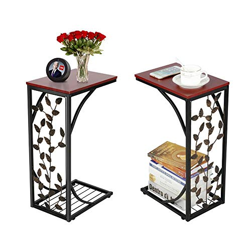 Yaheetech Sofa Side and End Table Bronze Metal Frame Wooden Top With Elegant Leaf Design - Necessity in Your Living Room to Keep Books, Phone, Drinks & Snacks at Easy Reach