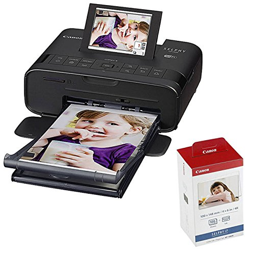 Canon SELPHY CP1300 Compact Photo Printer (Black) with KP-108 Ink/Paper Set