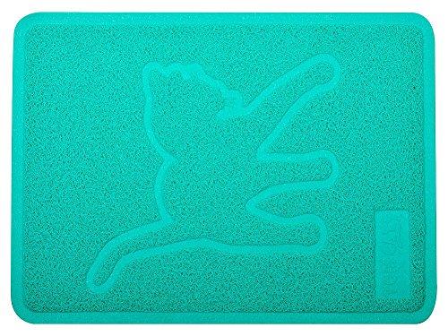 DM Cat Pet Litter Box Mat,Kitty Litter Rug,Doormat,Rectangle Shape, 19×14 Inches,Turquoise