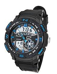 ALIKE Big Boys' 50M Waterproof Soft Rubber Band Digital Watch Quartz Analog Wrist Watch with Timepiece - Blue