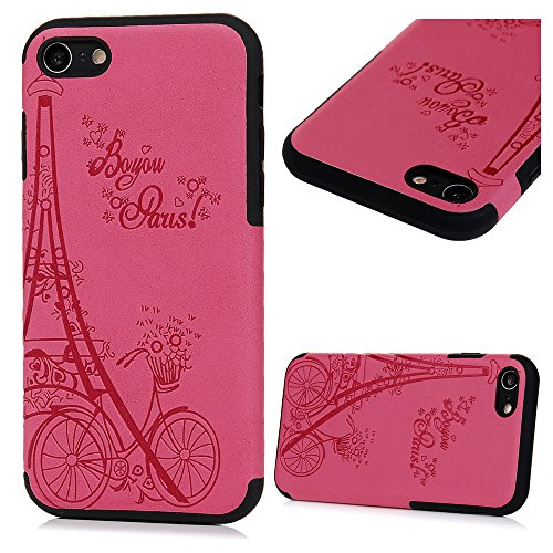 iPhone 8 Case, iPhone 7 Case, KASOS Embossed Bicycle & Tower & English Letters Design Soft TPU Red Case with Black Leather Frame Ultra-Thin Slim Fit Lightweight Shockproof Bumper Cover - Rose Red