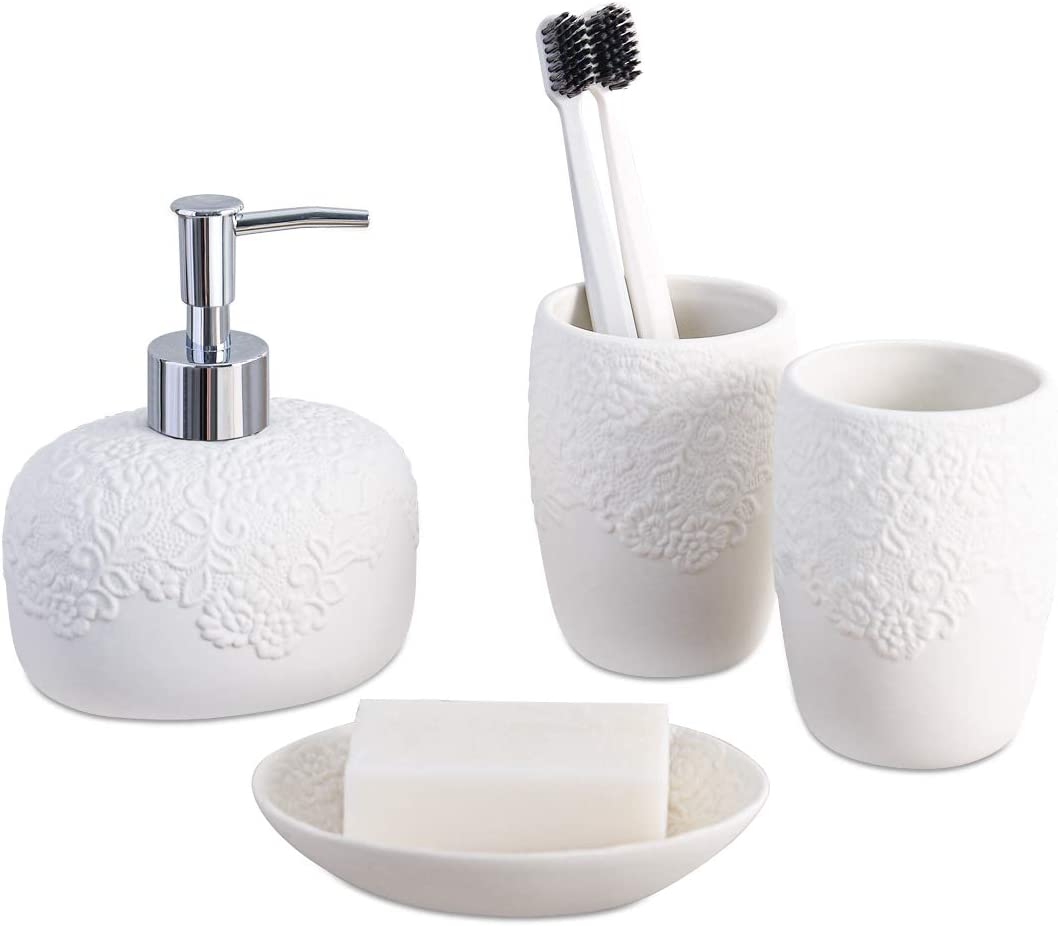 Amazon Com White Bathroom Accessories Set 4 Pieces With Soap Lotion Dispenser Soap Dish And 2 Tumblers For Bathroom Kitchen Countertop Ceramic Embossed Bathroom Set Home Kitchen