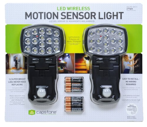 (Capstone 16-Super Bright LED's Motion Sensor Lights 2-Pack Batteries Included)