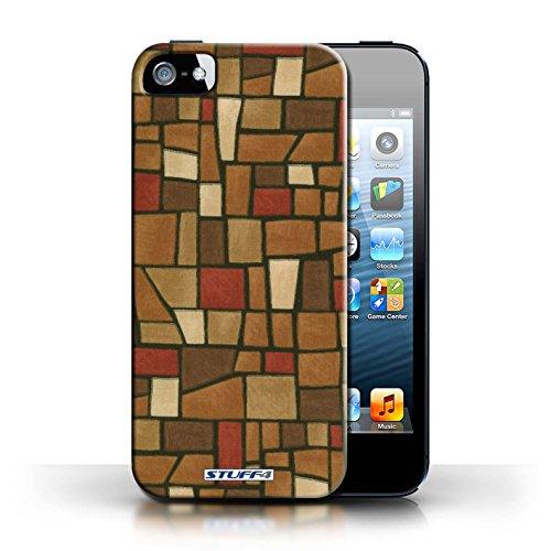 Etui / Coque pour Apple iPhone 5/5S / Brun/Rouge conception / Collection de Carrelage Mosaïque