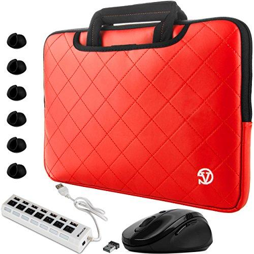 VanGoddy Diamond Stitched Slim Red Carryall Laptop