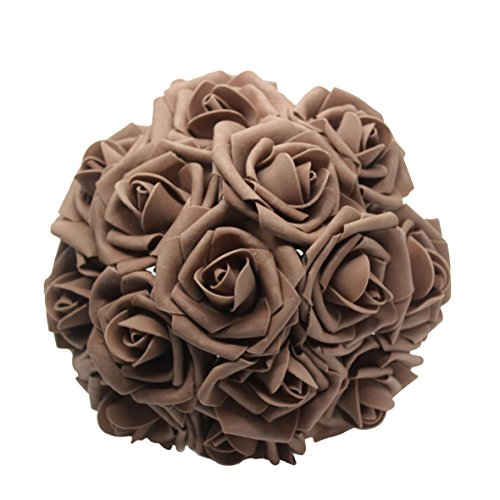 AnParty 25pcs Artificial Flower,Real Touch Artificial Foam Roses Decoration DIY for Wedding Bridesmaid Bridal Bouquet Centerpieces Party (25, Coffee)