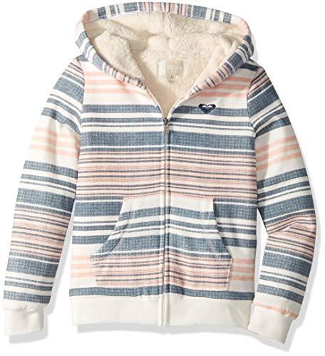 - Roxy Girls' Big Sherpa Lined Zip Up Hooded Fleece Top, Lob Bisque Nautical Stripes Gray, 16/XXL