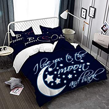 23400a4191 Romantic Musical Note Bedding Set Moon Star Duvet Cover Letter Print ...