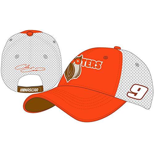 Checkered Flag Chase Elliott 2019 Hooters Draft Mesh NASCAR Hat Orange, White
