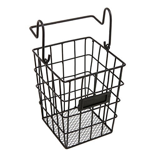 Modular Black Metal Mesh Wire Hanging Kitchen & Dining Utensils Storage Basket (Black Metal Hanging)