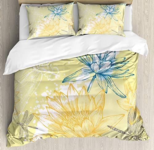 (Dragonfly Duvet Cover Set by Ambesonne, Boho Style Plants and Spiritual Dragonflies Sketchy Illustration, 3 Piece Bedding Set with Pillow Shams, King Size, Yellow White Petrol)