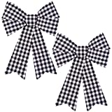 Aneco 2 Pack 12 x 18 Inches Black White Buffalo Plaid Christmas Bows Christmas Wreaths Bows Xmas Plastic Bows for Christmas Tree, Garland and Outdoor Decoration