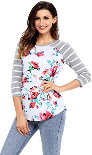Women Regular Fit Front Raglan 3/4 Sleeve Top Tees with Round Bottom XL