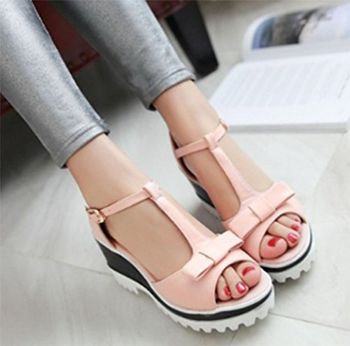 CHFSO Womens Comfy Peep Toe T Strap Wedges Platform Sandals With Bowknot Pink GSVfZYpDsU