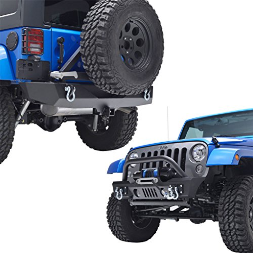 E-Autogrilles Jeep Wrangler JK Stubby Front Bumper and Rear Bumper with Tire Carrier Combo