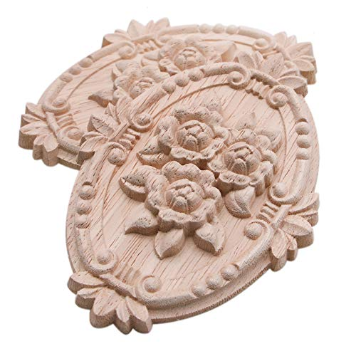 WSSROGY Pack of 2 Wooden Carved Onlay Applique Oval Carving Decal Floral Carved Carved Corner Craft Unpainted Furniture Home Decor Retro Styles