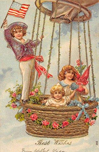 Best Wishes Patriotic Dirigible Children Hot Air Balloon Antique Postcard K66828
