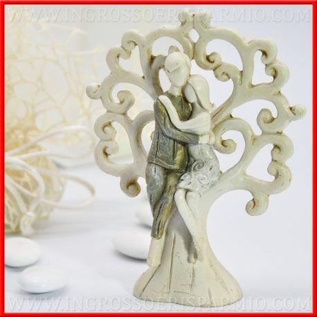 Figur in Harz Bunt Bunt Bunt in Form von Baum des Lebens Aufkleber Weiß wird zum Rahmen einer Brautpaar Cartoon sitzen die Umarmung, Sie in Kleid Weiß und ihm Farbe Bronze – boboniere Hochzeit, Hochzeit, confettate kit 12 pz. No Confezione 2f8d0c