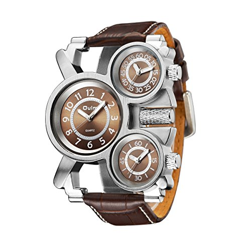 Mens Big Face Unique Military Watch - Three Brown Analog Dials, Japan Quartz & Genuine (Brown Dial Watch)
