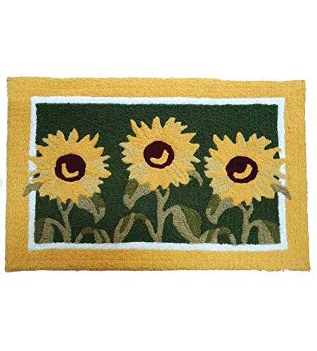 Small Hooked Rug (Door Mats Outdoor Rugs Kitchen Rugs Garden Decor Doormat Hooked Rug Look 2 ft. x 3 ft. Sunflowers)