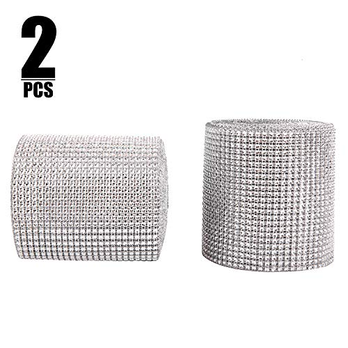 KINJOEK 2 Rolls 10 Yards 24 Row Bling Rhinestone Diamond Mesh Ribbon Wrap 4.75 Inch Total 20 Yard/60 Ft Silver Diamond for DIY, Wedding Decorations, Cake, Birthday Party Supplies, Arts and Crafts