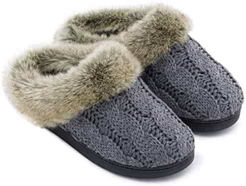57208206a Women's Soft Yarn Cable Knitted Slippers Memory Foam Anti-Skid Sole House  Shoes w/