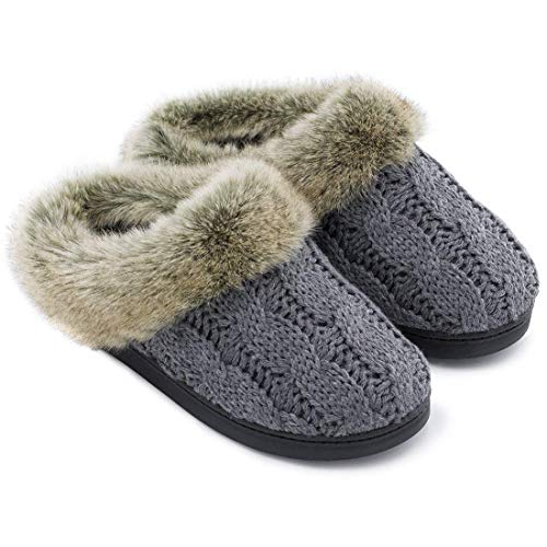 ULTRAIDEAS Women's Soft Yarn Cable Knit Slippers Memory Foam Anti-Skid Sole House Shoes w/Faux Fur Collar, Indoor & Outdoor,Dark Gray,Medium / 7-8 B(M) US