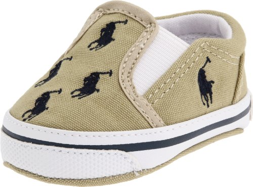 Ralph Lauren Baby Layette - Ralph Lauren Layette Bal Harbour Crib Shoe (Infant/Toddler),Khaki/Navy Canvas,3 M US Infant