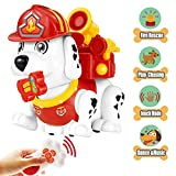 Electronic Pet Dog,Interactive Firehouse Puppy Christmas Gift for Boys and Girls 2,3,4 Year Old Educational Remote Control Toys with Sounds,Dance and Walking