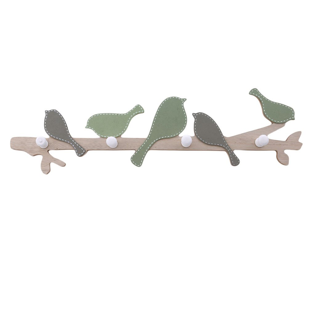 GUAngqi Woody Bird Hooks Wall Mounted Coat Hook Children Bedroom Hangers Wall Decoration Wall Hanging Clothes Hook,Light Green,About 18.85.31.4in
